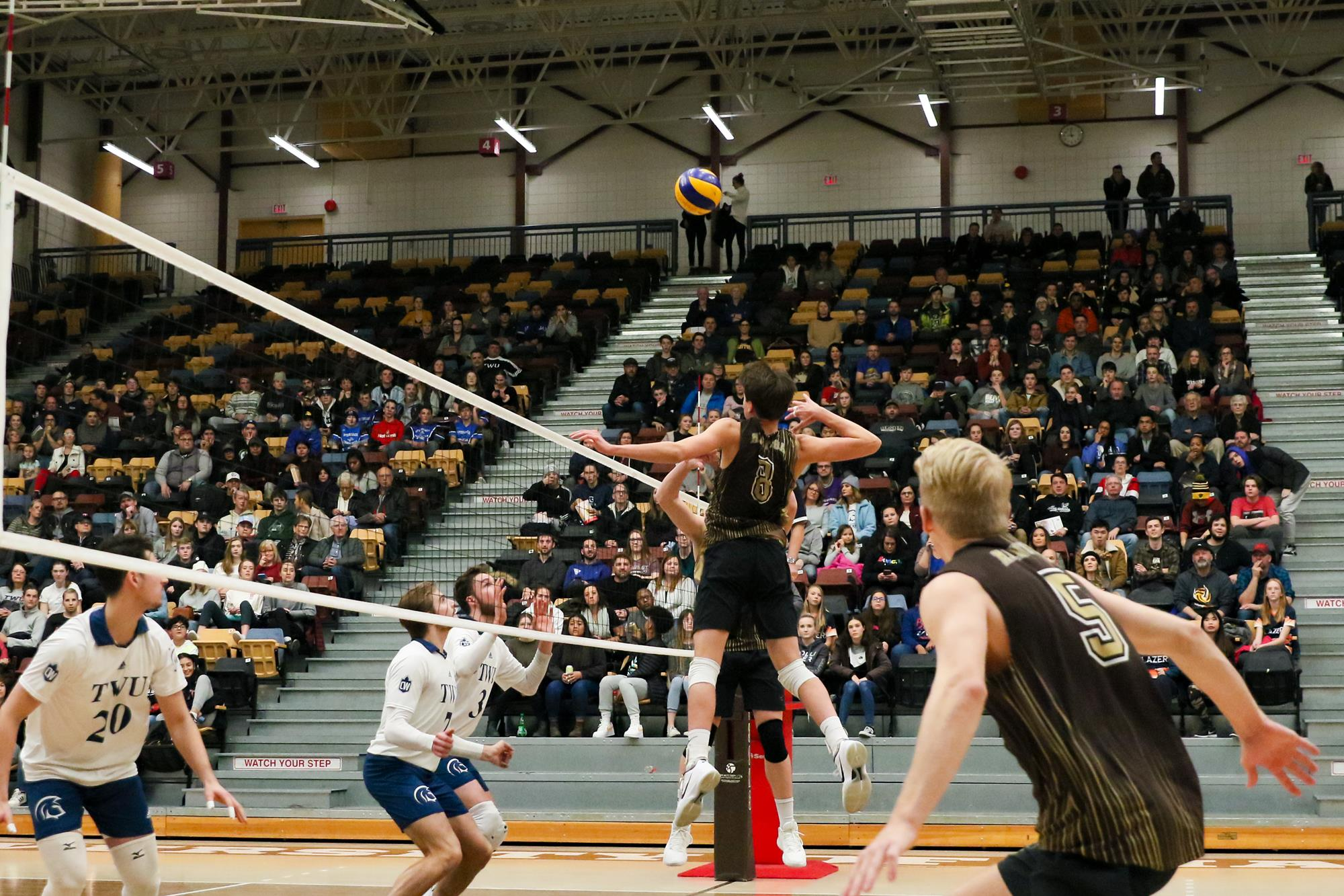 Manitoba Bisons middle Darian Koskie against the Trinity Western Spartans at the Investors Group Athletic Centre on Friday, November 15, 2019 (Dave Mahussier, Bison Sports)